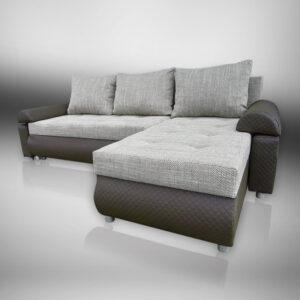 Corner Sofa Bed in Beautiful Savanna Fabric with Brown Eco Leather LORETO (Brown) - DERONA FURNITURE
