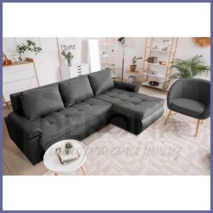 Corner Sofa Bed in Savannah Grey Fabric with Black Eco Leather – OPIS