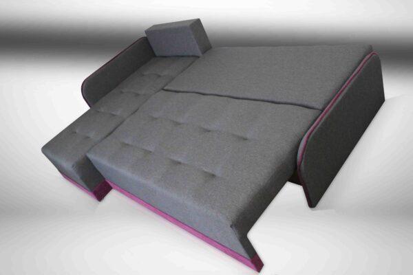Grey Fabric with Purple Corner Sofa Bed NEMO
