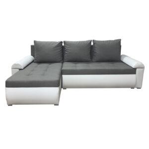 Beautiful Savanna Fabric with White Eco Leather Corner Sofa Bed
